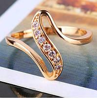 Кольцо покрытие золото с фианитами р 17,18 код 510