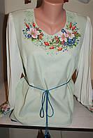"""Блузка женская вышитая нитками """"Шипшина"""" Ручная вышивка на полотне.50 размер."""