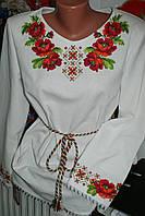 "Блузка женская вышитая нитками ""Маки"" Ручная работа. 48 размер."