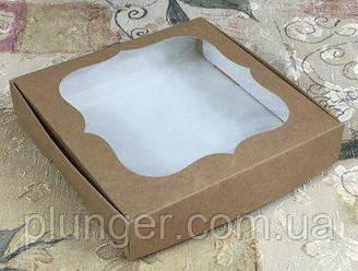 Коробка для печенья, пряников с окном, 15 см х 15см х 3 см, мелованный картон Крафт
