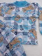 Детские теплые пижамы с начесом 100% хлопок на 1- 2 года, фото 1