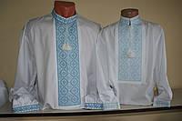 Мужская рубашка вышитая нитками. Ручная вышивка. 50 размер.