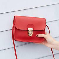 Красная сумка клатч  мини на плечо