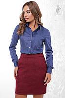 Женская приталенная блузка Ромбус-4 с длинным рукавом