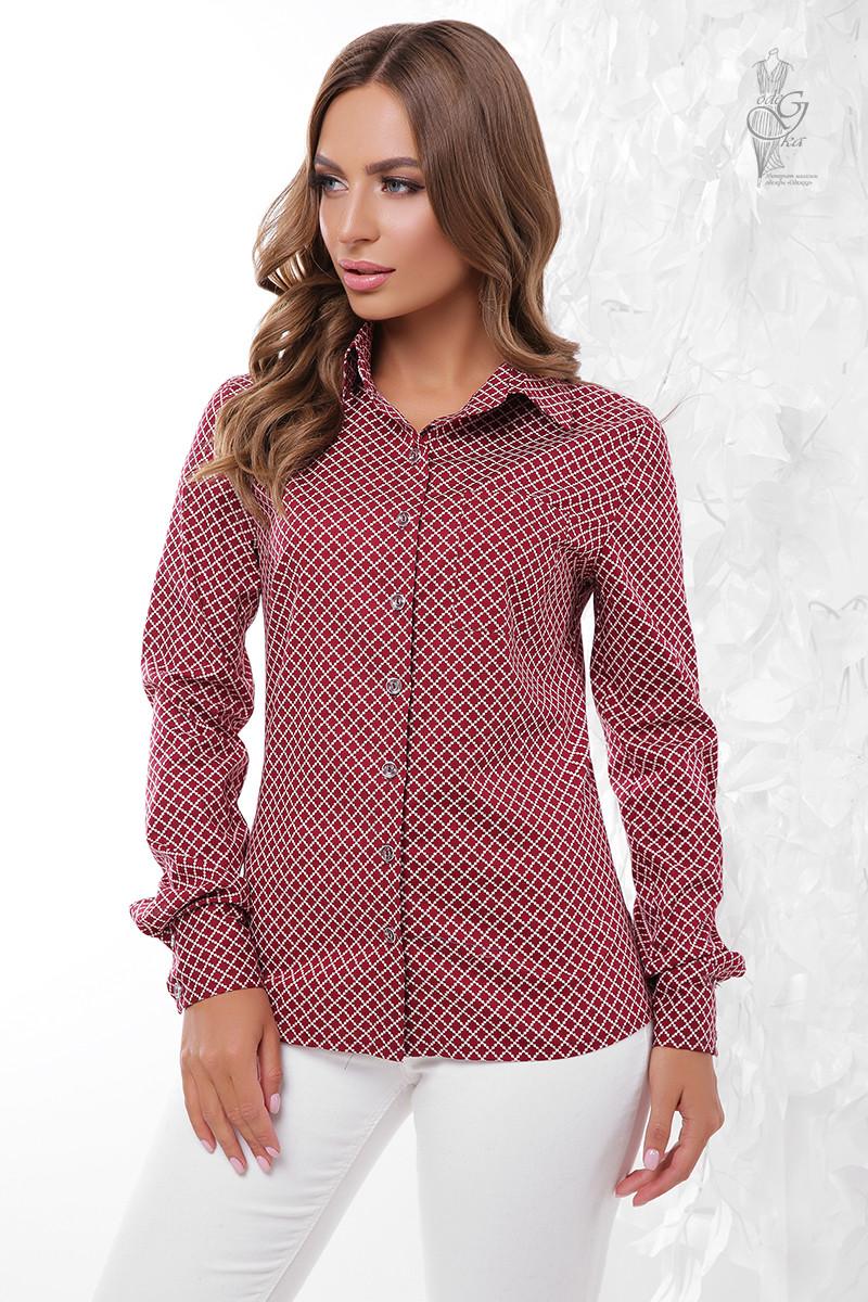 Женская приталенная блузка Ромбус-5 с длинным рукавом