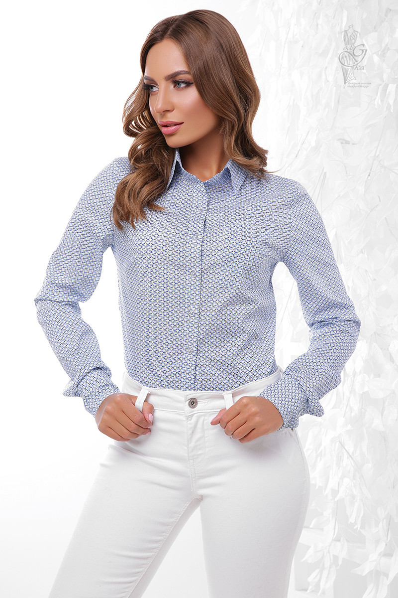 Женская приталенная блузка Ромбус-6 с длинным рукавом