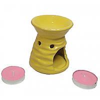 Аромалампа керамическая набор лимонная подарочный набор 13х8х7,5см  (32025)