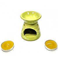 Аромалампа керамическая набор салатовая подарочный набор 13х8х7,5см  (32025B)
