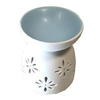 Аромалампа керамическая бело-синяя 9,5х7,5х7,5см  (32042C)