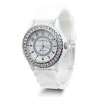 Часы Женева в стразах серебряный корпус : Белые