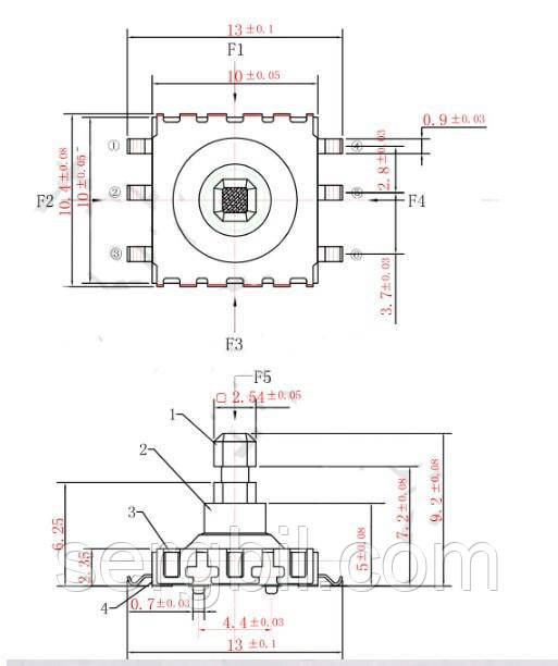 Джойстик - микропереключатель патипозиционный, на плату, смд