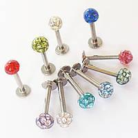 Для пирсинга губы лабрет 8 мм с кристаллами. Медицинская сталь, акриловые шарики.