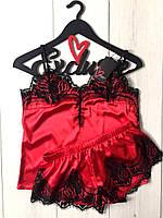 Красный шикарный атласный комплект с черным кружевом для сна, фото 1
