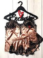атласный комплект с черным французским  кружевом для сна и дома, фото 1