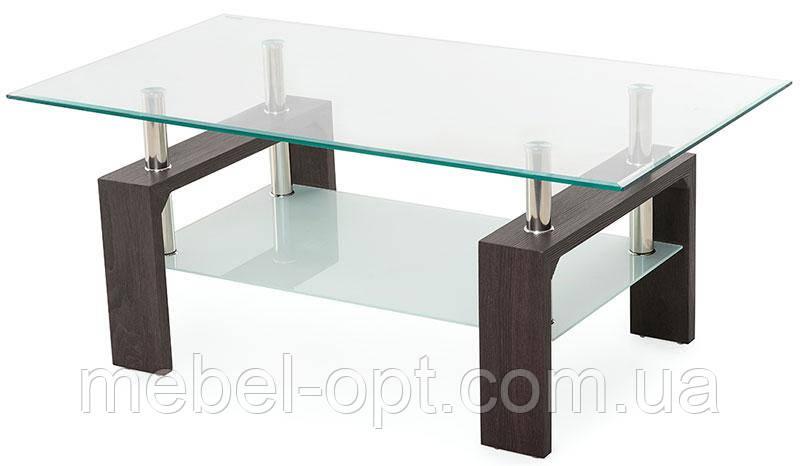 Прямоугольный  журнальный стол С-107-2 каленое стекло, каркас МДФ цвет венге, 110*60*45(H)
