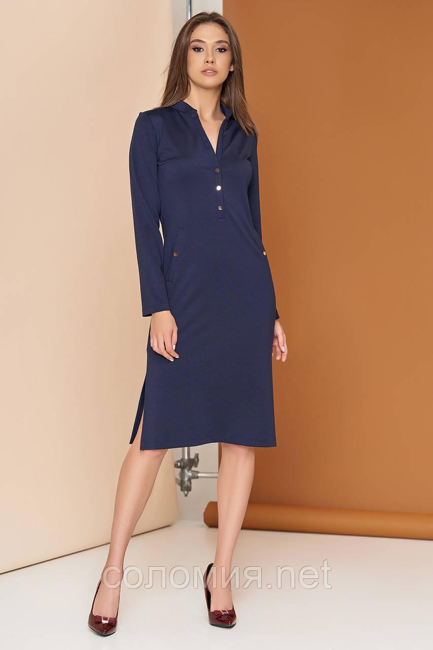 Стильное трикотажное платье с застежкой-планкой на кнопках 44-54р