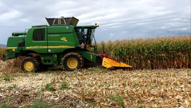Фото сбора кукурузы комбайном Джон Дир