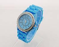 Часы Женева в стразах серебряный корпус : Голубые