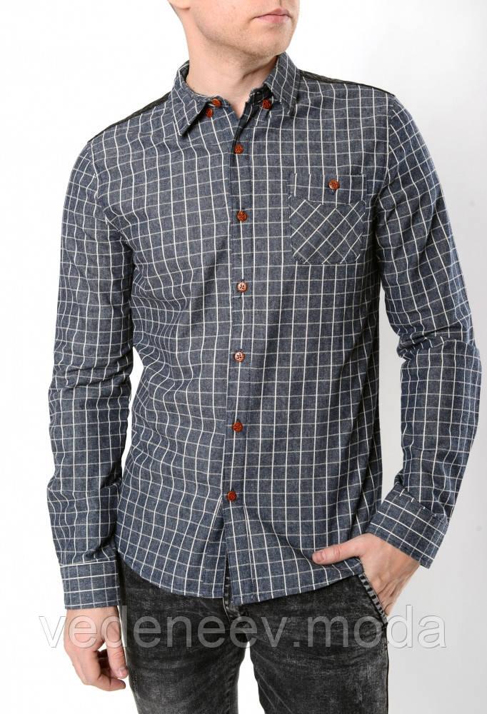 d52f791618b Мужская серая клетчатая рубашка  продажа