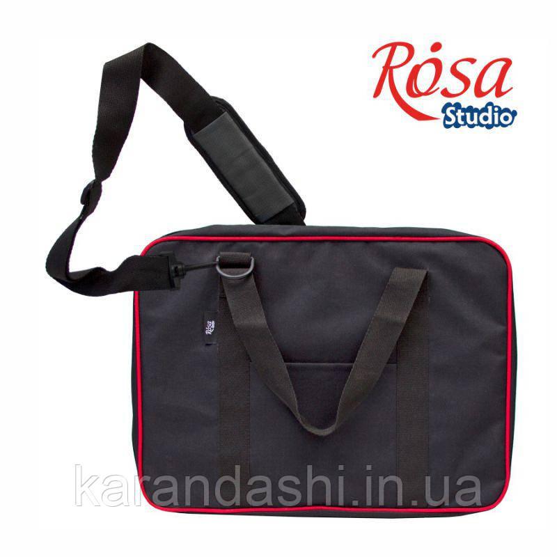 Сумка для бумаги на молнии, А3, черная+красный кант, ROSA Studio