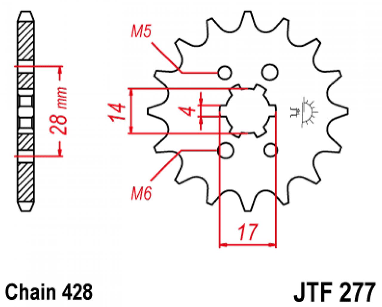 Звезда передняя JT JTF277.13