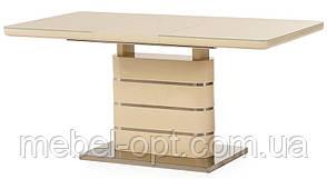 Раскладной стол ТМ-52-1молочный, МДФ покрыткаленым глянцевым стеклом 120-160х80х76Н