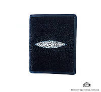 Мужской портмоне из кожи ската, черного цвета Mosart Custini 2732