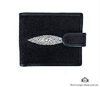 Мужской портмоне из кожи ската, черного цвета Mosart Custini 2767
