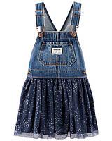 Нарядный джинсовый сарафанчик для девочки OshKosh синий