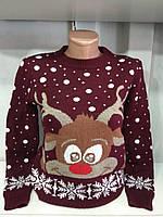 Женский новогодний свитер с веселым оленем бордо р. 44-50 Турция