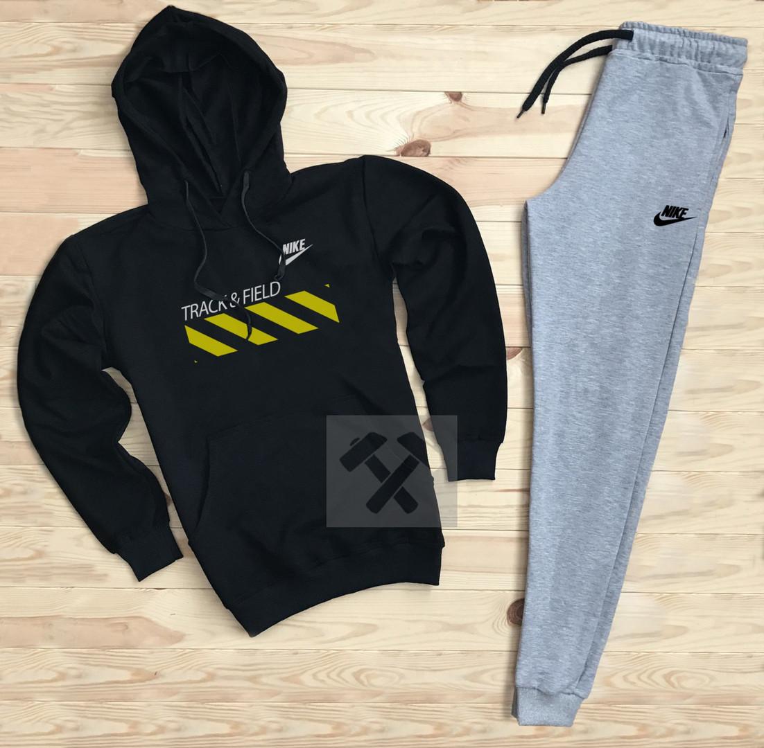 Костюм спортивный Nike черно-серый топ реплика