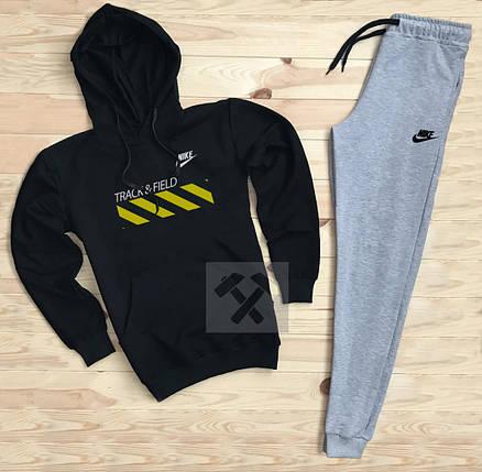 Костюм спортивный Nike черно-серый топ реплика, фото 2