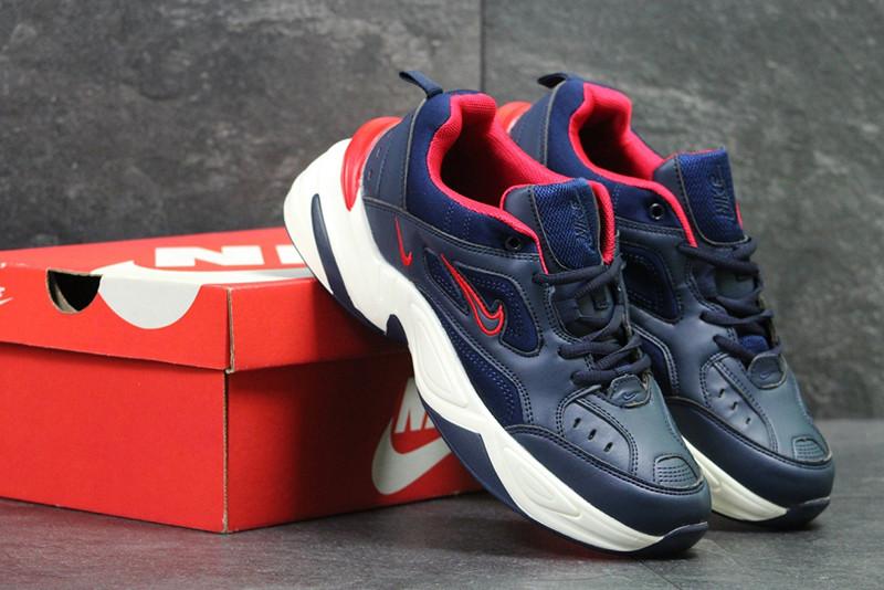 Найк М2К текно кроссовки мужские темно-синие белые кожаные (реплика) Nike M2K Tekno Dark Blue White Leather