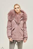 Куртка парка с мехом ML лиловая