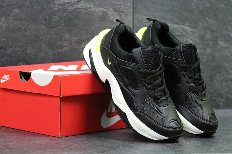9b066d41 Найк М2К текно кроссовки мужские черно-белые кожаные спортивные (реплика)  Nike M2K Tekno Black White Leather