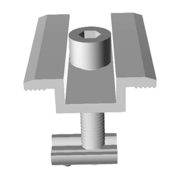 Прижим средний алюминиевый в сборе 35 мм (алюм.+оцинковка)