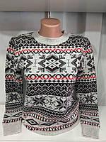 Женский новогодний свитер с геометрическим орнаментом р. 44-50 Турция