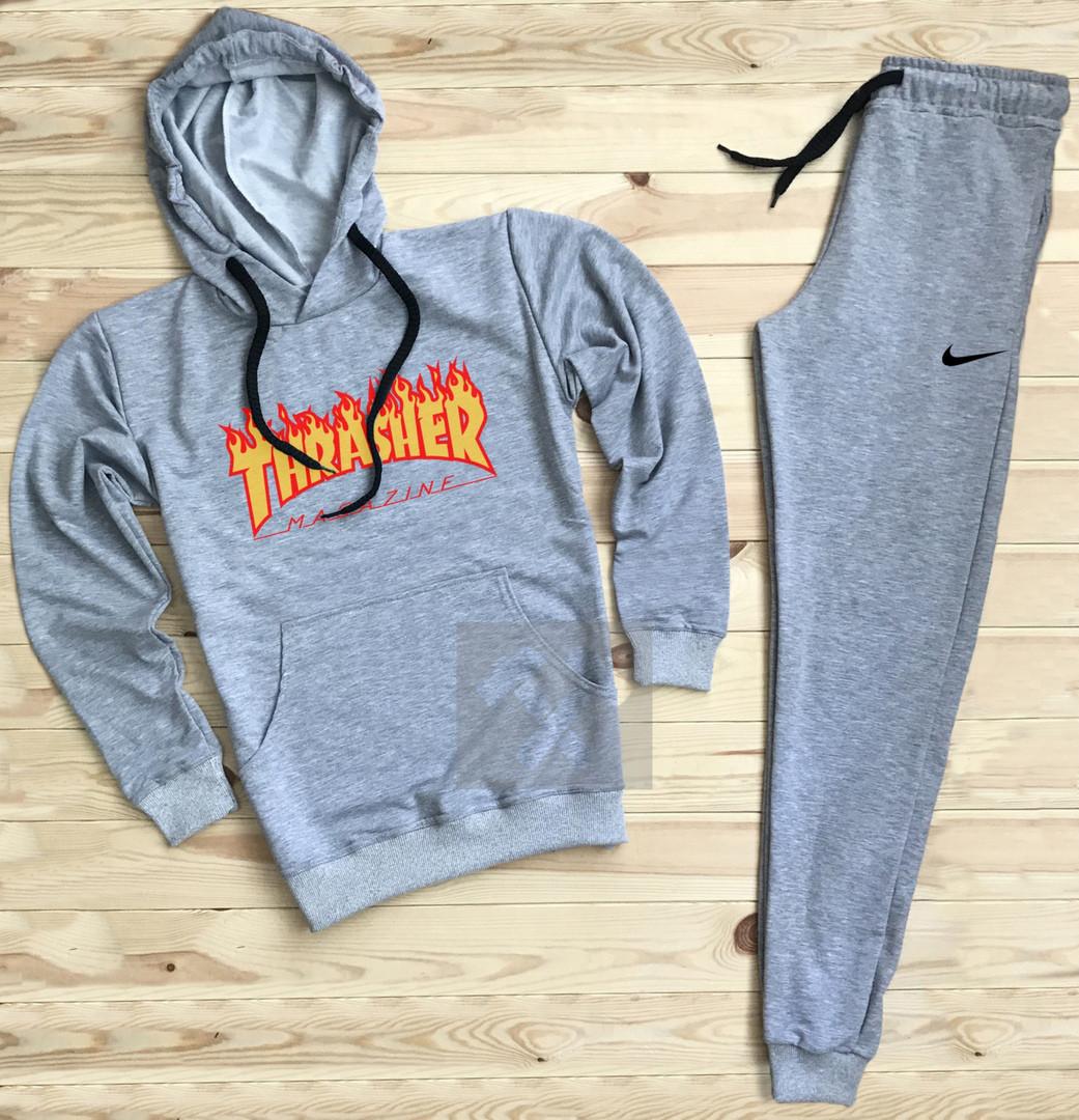 Костюм спортивный Thrasher x Nike серый топ реплика