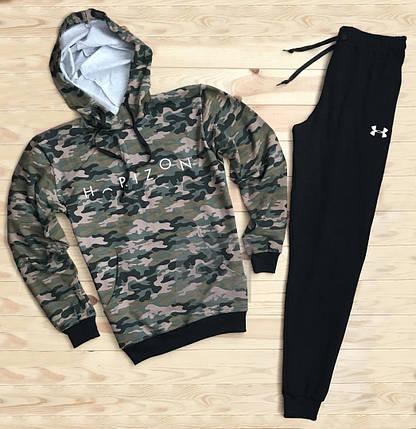 Костюм спортивный Under Armor камуфляжно-черный топ реплика, фото 2