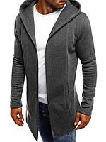 Мужской кардиган, Серый, Материал: 65% коттон 35% полиэстер, Плетение: двухнитка на флисе