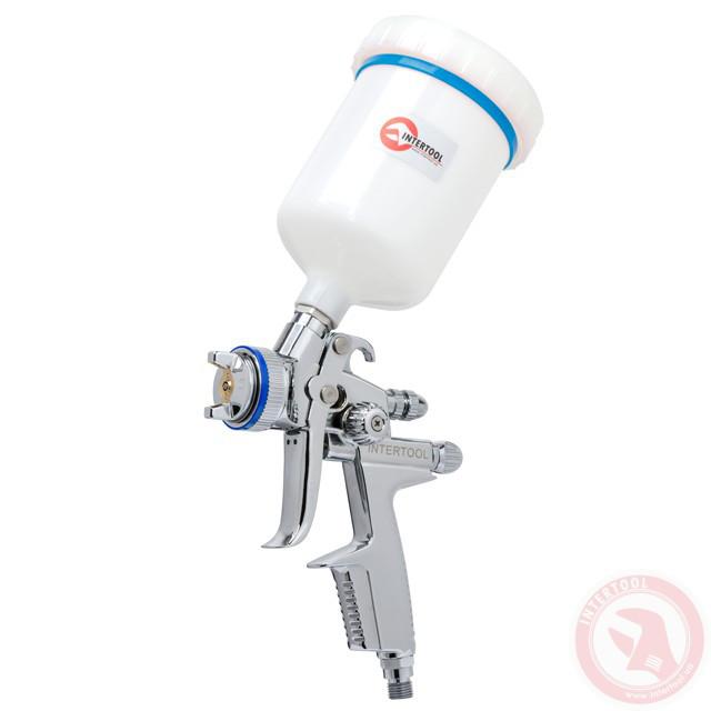 HVLP II Профессиональный краскораспылитель 1,4 мм, верхний пластиковый бачок 600 мл INTERTOOL PT-0100