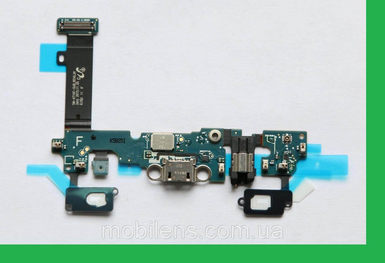 Samsung A710, A710F Galaxy A7 (2016) Шлейф с разъемами зарядки, наушников и микрофоном