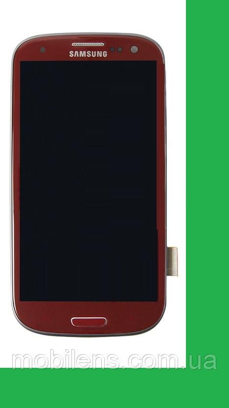Samsung i9300, Galaxy S3 Дисплей+тачскрин(сенсор) в рамке красный