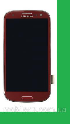 Samsung i9300, Galaxy S3 Дисплей+тачскрин(сенсор) в рамке красный, фото 2