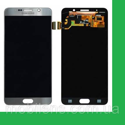 Samsung N920, N9200, Galaxy Note 5 Дисплей+тачскрин(сенсор) серый (серебристый), фото 2