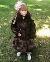 Шуба детская из меха нутрии коричневого цвета 4-7 лет, фото 1