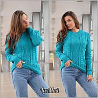 Женский свитер Ника, бирюза, фото 1