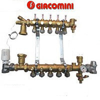 Модульный коллекторный узел Giacomini для систем отопления на 2 контура