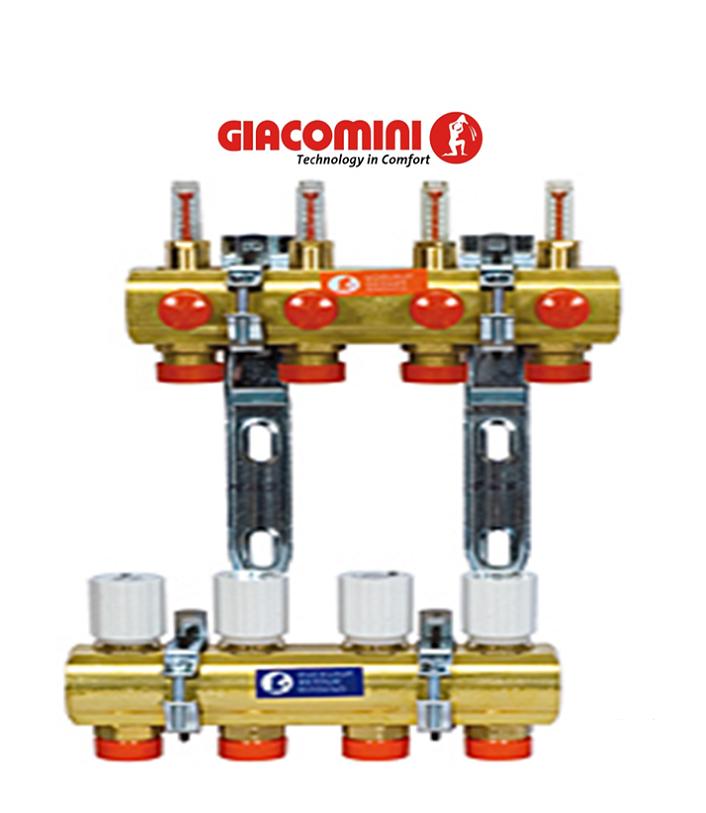 Колектор Giacomini для систем опалення з променевої розводкою на 6 контурів