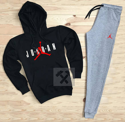 Костюм спортивный Nike Jordan черно-серый топ реплика, фото 2